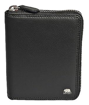 356ee35a9192c Brown Bear Geldbörse Leder Schwarz Reißverschluss RFID Schutz hochwertig  Doppelnaht Herren Hochformat Damen Geldbeutel Männer Portemonnaie