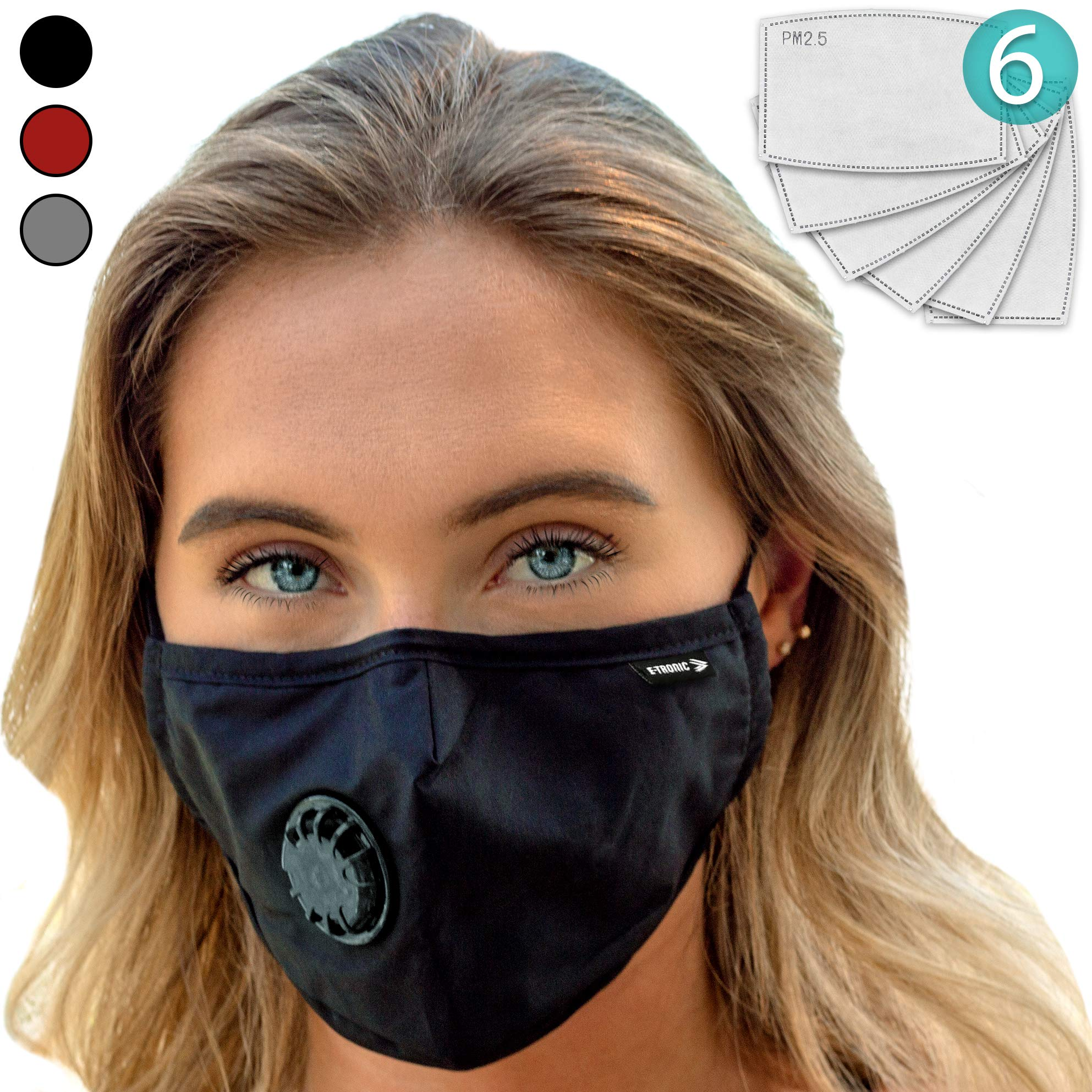 Face Mask: Best Air Pollution Universal FIT Dust Masks + 6 N99 Filter. Carbon Respirator & DustProof Safety Cover Mouth from Gas Exhaust Smoke, Pollen, Paint. Cycling Running for Women Men Kids (BLK) by E Tronic Edge