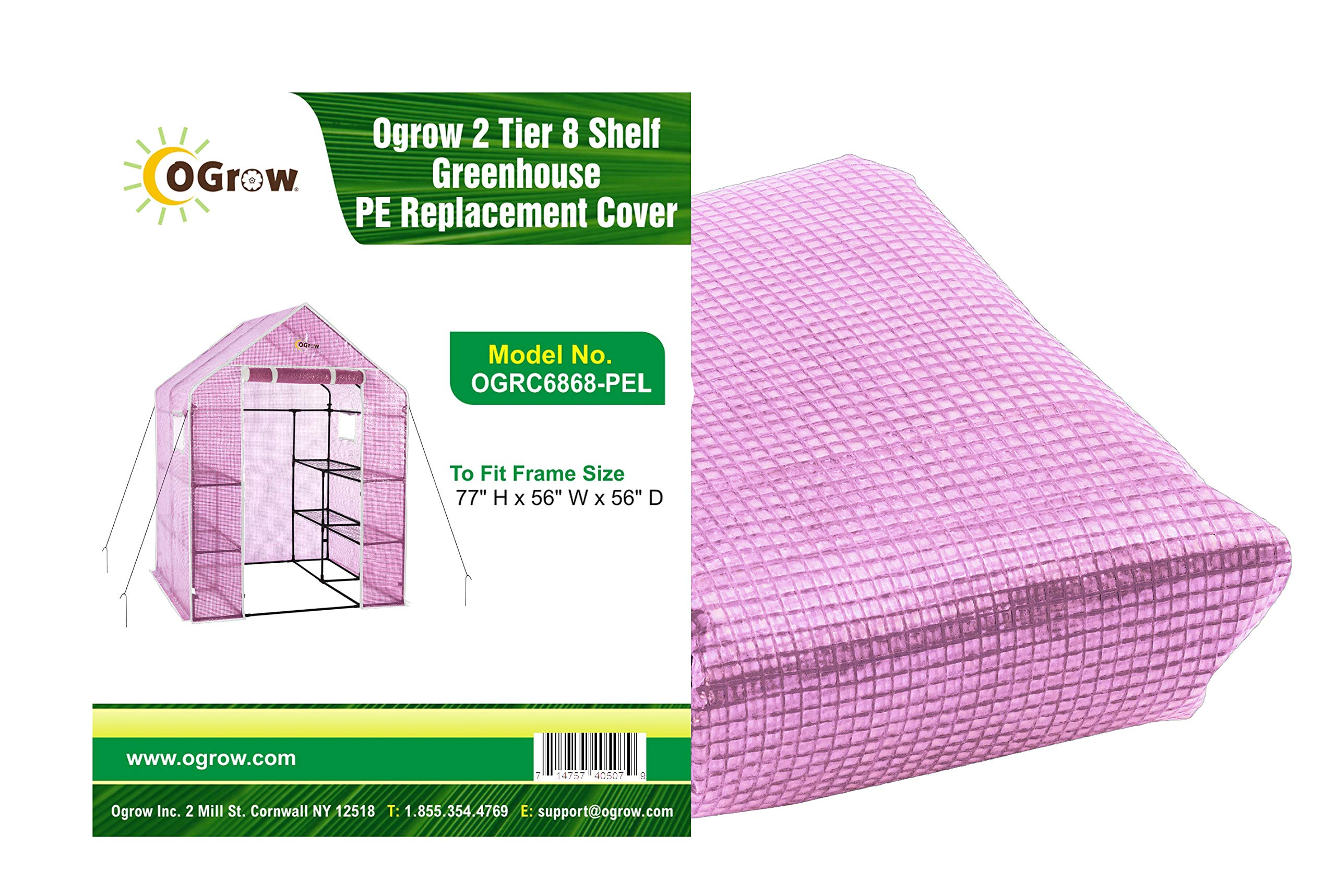 OGrow OGRC6868-PE Lilac Greenhouse Replacement Cover, Fit for Frame Size 56'' l X 56'' w X 77'' h
