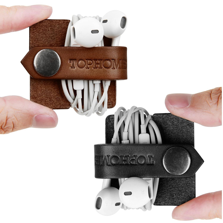 Tophome - Avvolgi-cavo per gli auricolari e le cuffie, in vera pelle, fatto a mano, per tenere in ordine i fili Orange EWoneWI