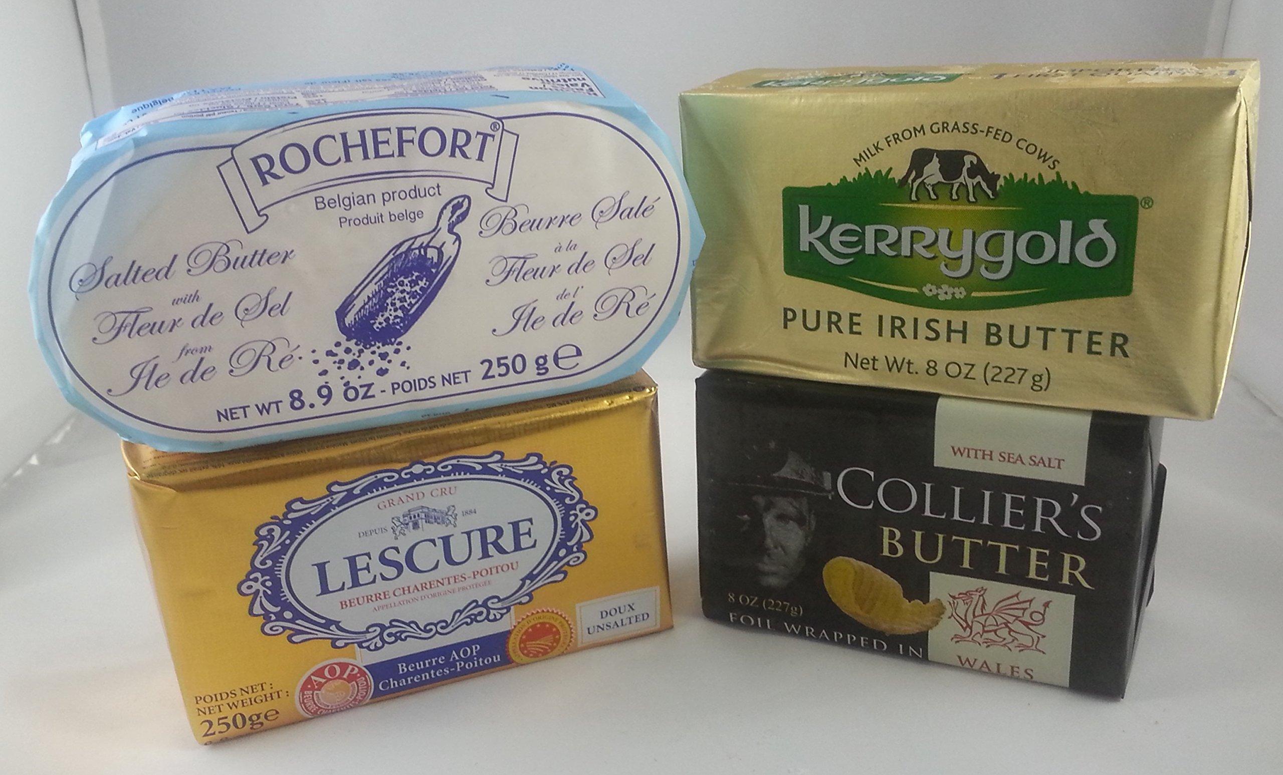 European Butter Set. (4 butters). Kerrygold Irish (8 oz), Rochefort Belgian (8.9 oz), Lescure French (8.9 oz), Collier's Wales (8 oz)