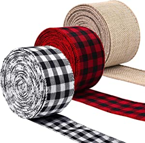 3 Rolls Christmas Wired Edge Ribbons, YouthBro 30 Yards 2 Inches Red Black Burlap Buffalo Gingham Plaid Ribbons for Xmas Holiday DIY Craft Wrapping Gift Party Decoration
