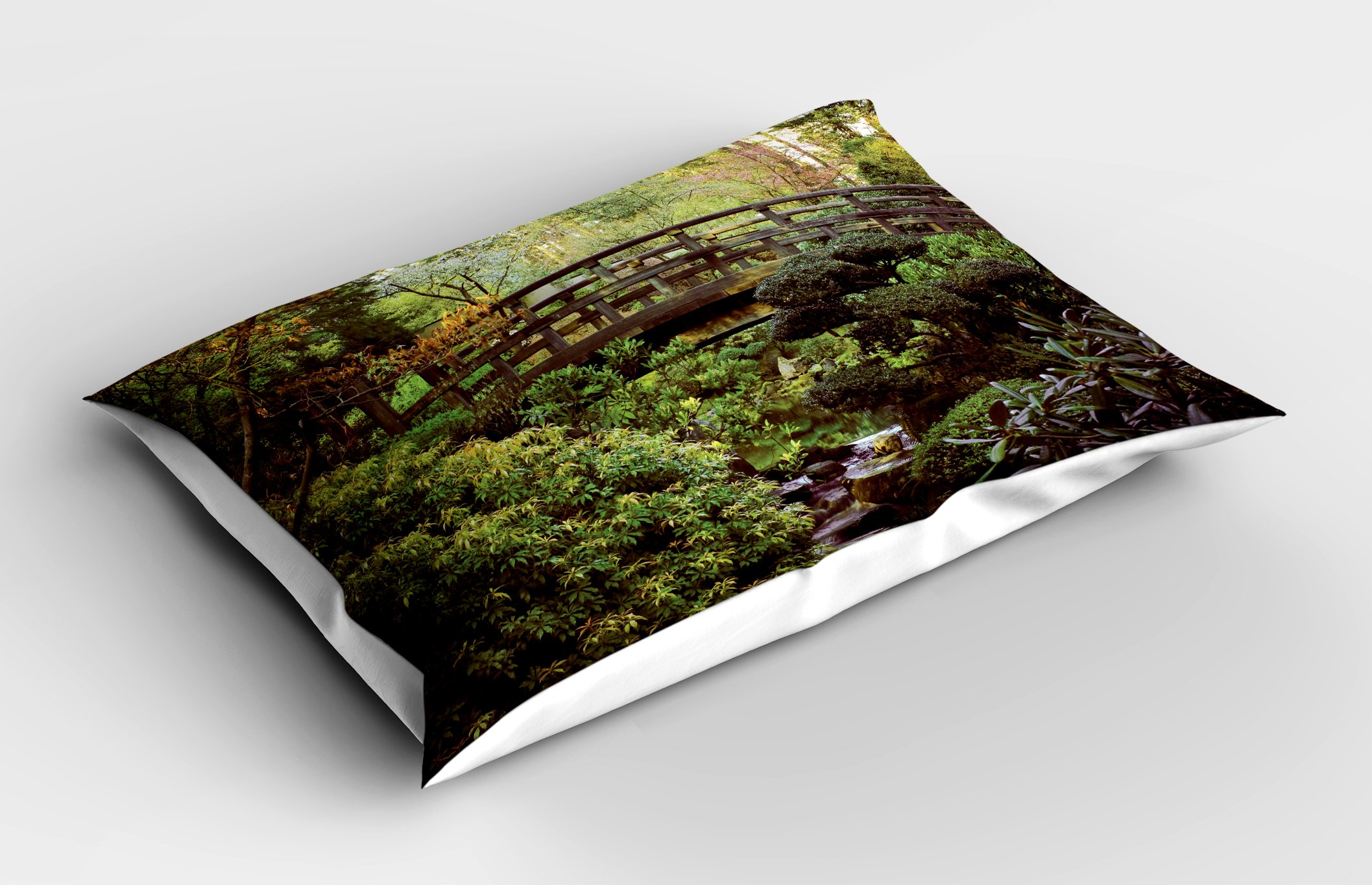 Lunarable Japanese Pillow Sham, Wood Bridge in Forest Serene Arboretum Relax Rest Spiritual Route Peace Landscape, Decorative Standard King Size Printed Pillowcase, 36 X 20 inches, Green Brown by Lunarable (Image #2)
