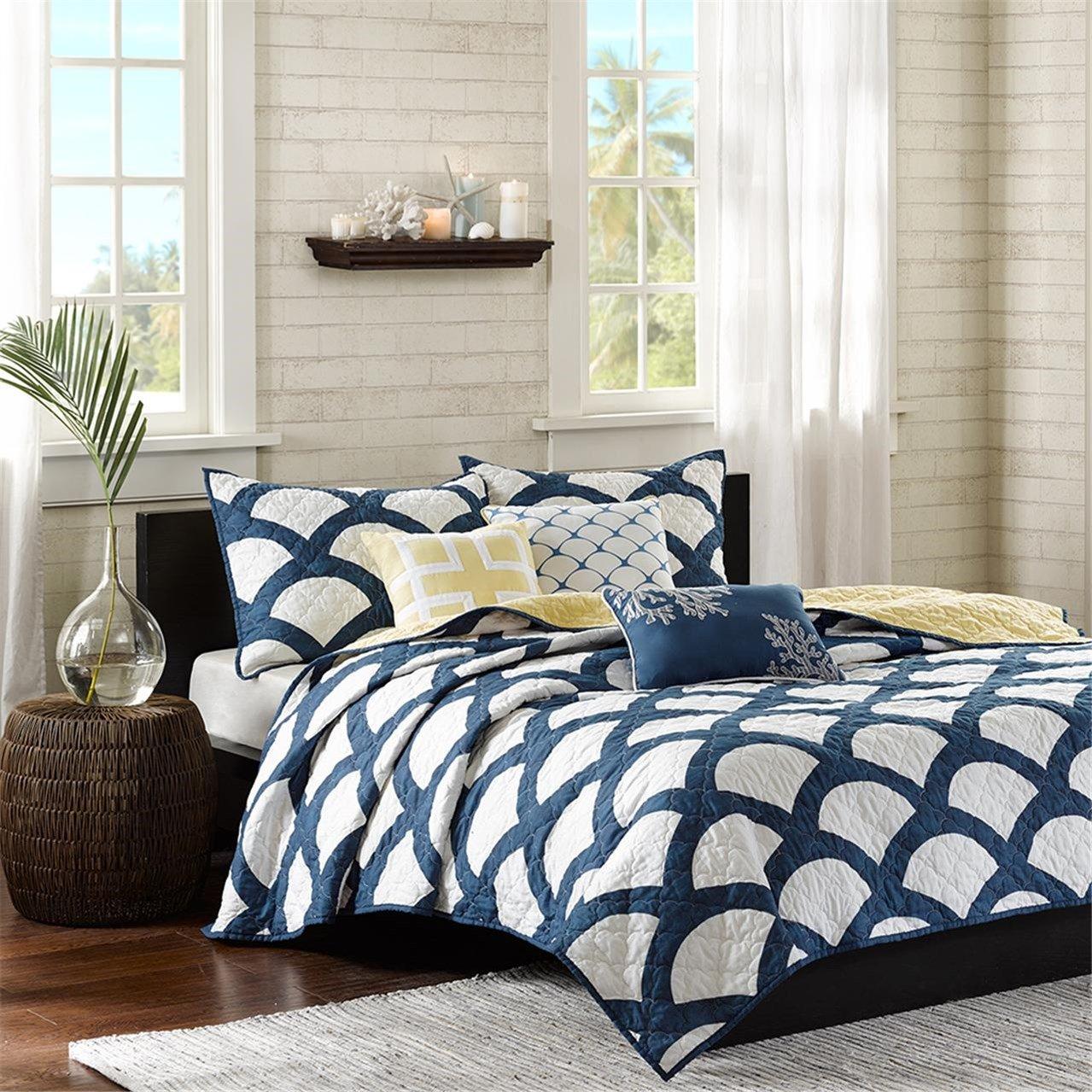 ブルーArches Coverlet寝具セット、Includes 6ピース/ソフトNavyブルーベッドスプレッド、クイーンサイズ B017UW27QA
