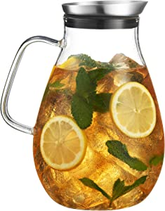 MITBAK 60- OZ Glass Pitcher With Stainless Steel Lid | Beautiful Lightweight Beverage Jug Carafe With A Wide Handle | Great For Cold & Hot Drinks Like Tea, Lemonade, Juice, Water, Coffee, Cold Brew