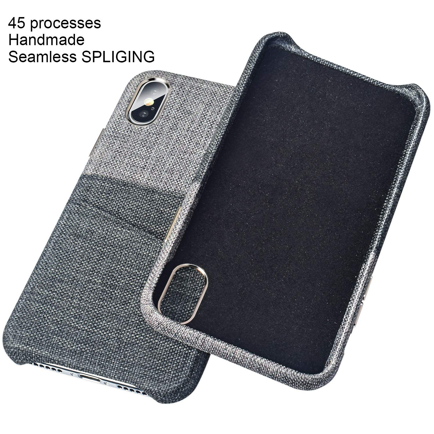 PARFASE iPhone Xs Max Wallet Case, iPhone Xs Max Case Soft Cloth Fabric Case with 2 ID Credit Card Holder Slots for Apple iPhone Xs Max 6.5 inch (Gray/Black)