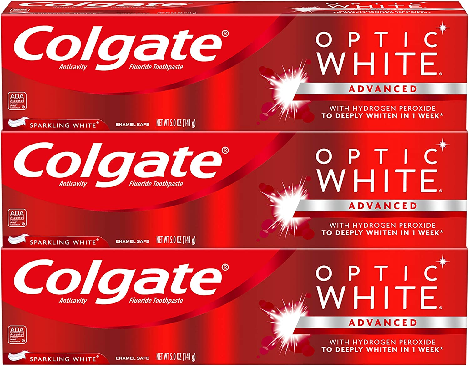 Amazon Com Colgate Optic White Whitening Toothpaste Sparkling White 5 Ounce 3 Pack Beauty