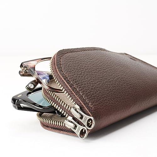 ddcf77dde68 Dark Brown Leather Double Glasses Case