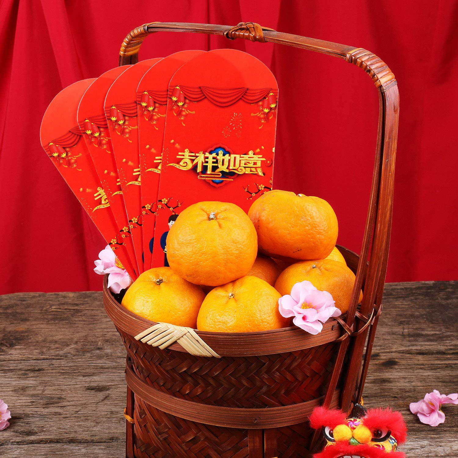 Chinese Couplet Spring Festival New Year Decoration Set Red Envelope Including 59 Inch Chinese Couplet Fu Character Card and Chinese Paper-Cut Window Sticker