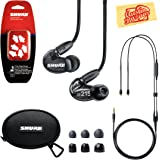 Shure SE215 Sound Isolating Earphones - Translucent Black Bundle with Remote Cable, Triple Flange Sleeves, Sleeve Fit Kit, Carrying Case, and Austin Bazaar Polishing Cloth