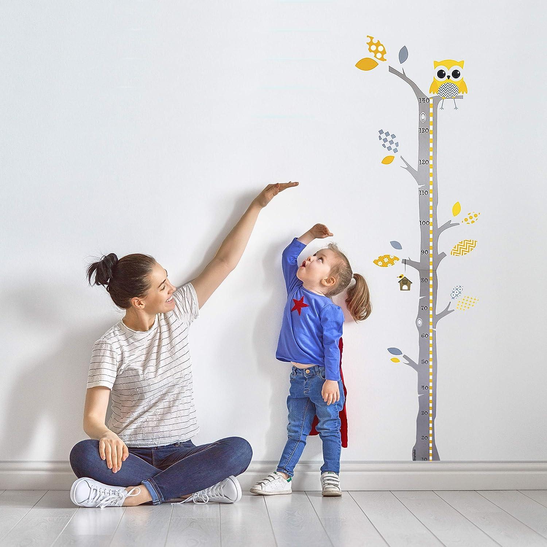 Brunoko vinilos infantiles para habitacion bebe - pegatina medidor de niños para pared - vinilo decorativo medidor infantil pared - vinilo para bebe de árbol Diseñado en España