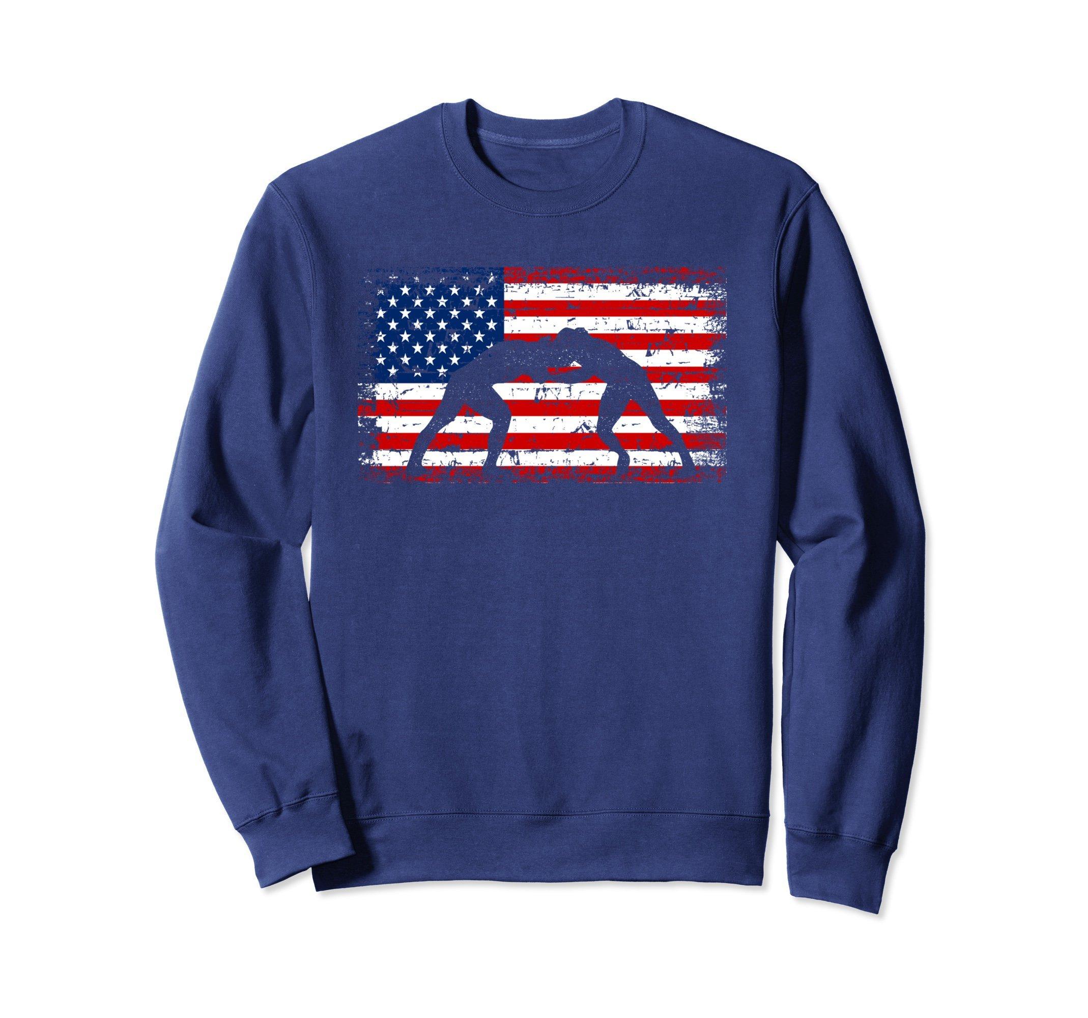 Unisex Wrestling American flag Wrestlers Sweatshirt XL: Navy by Crea8tive Wrestling Dezines