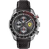 Ferrari SPEEDRACER Reloj de cuarzo de acero inoxidable con correa de piel de becerro, negro, 21 (Modelo: 0830648)
