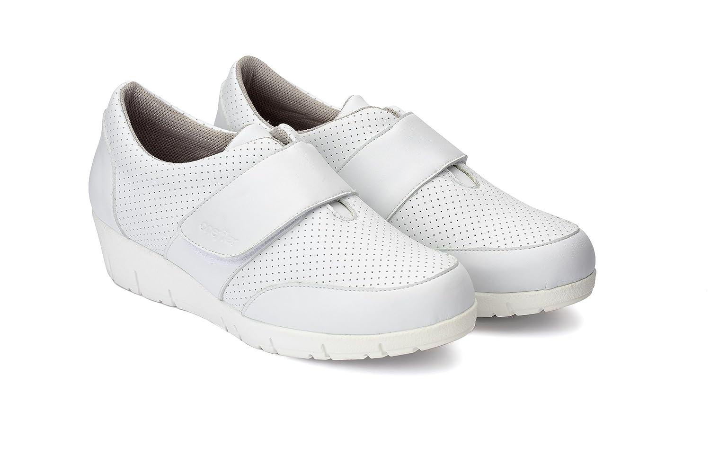 Oneflex Chaussures détente Femme Mod. Noah-P Coolmax- Chaussures antiderápant Hôtellerie en Microfiber Impermeable Blanc