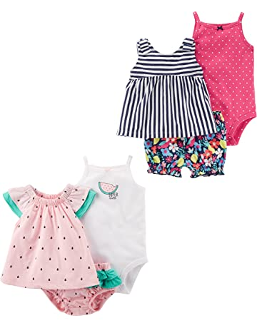 30e322e3f Carter's Baby Girls' 6-Piece Bodysuit Tee and Short Set