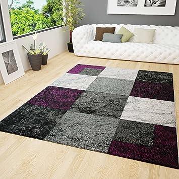 Wohnzimmer Teppich Modern Design Schwarz Lila Grau Marmor Stein ...