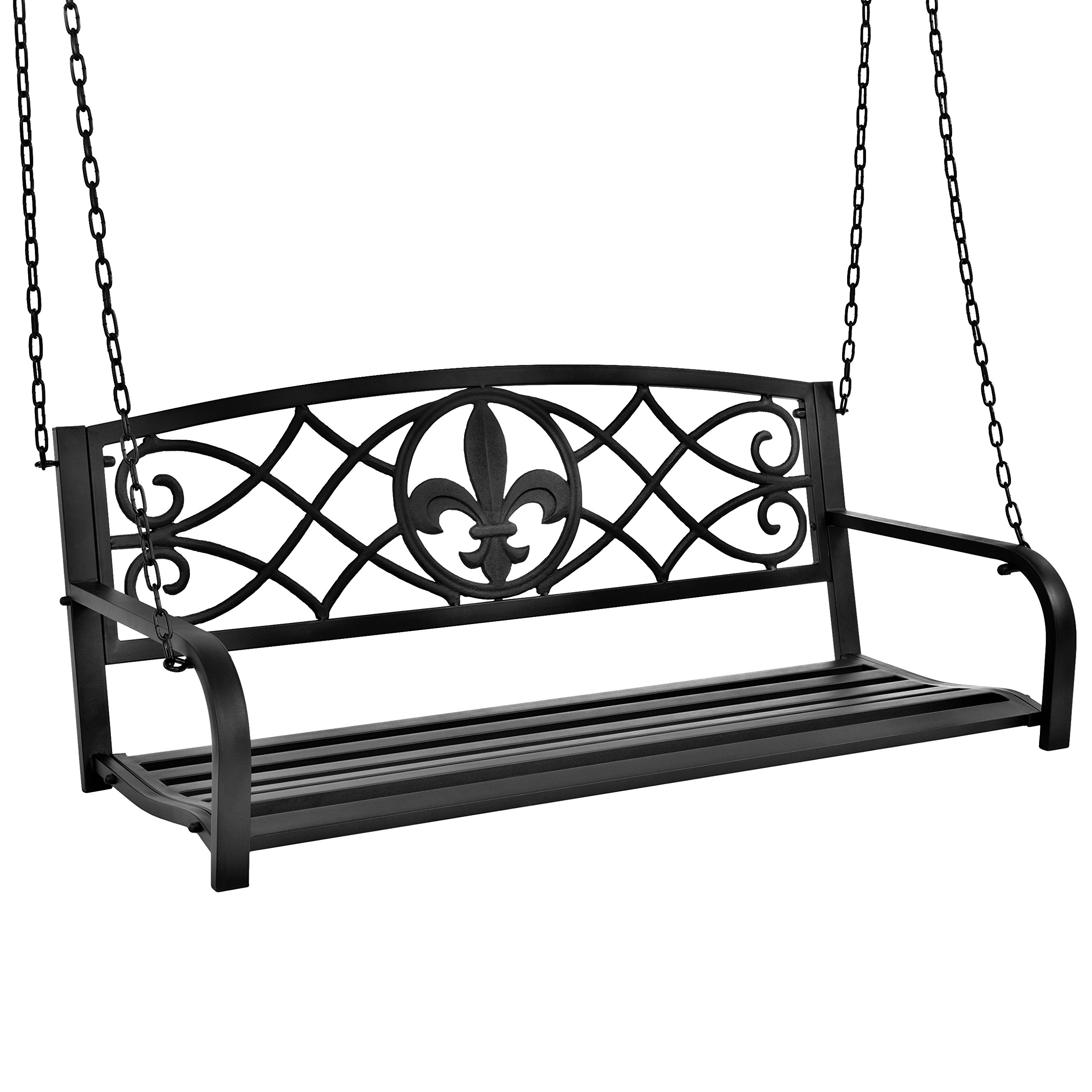 Best Choice Products Outdoor Metal Fleur-De-Lis Hanging Swing Bench with Weather-Resistant Steel, Black by Best Choice Products