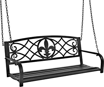 Best Choice Products Outdoor Metal Fleur-De-Lis Hanging Swing Bench w/Weather-Resistant Steel, Black
