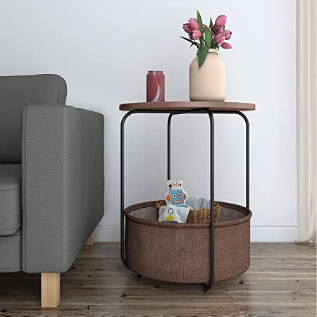 Lifewit Round Side End Table With Storage Basket Modern Rustic