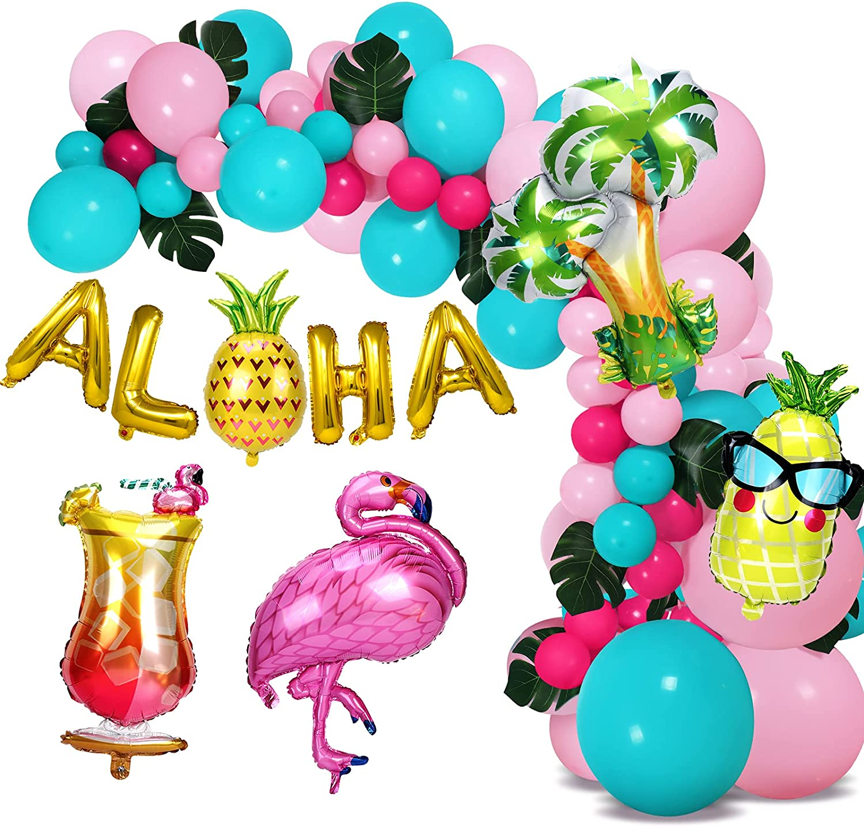 110Pcs Hawaiian Aloha Balloon Garland Arch Kit Luau Decorations with Tropical Palm Leaves Flamingo Pineapple Juice Palm Tree Gold Aloha Party Decor Supplies