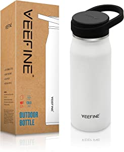 VEEFINE Water Bottle Vacuum Insulated Stainless Steel Water Bottles Keep Cold Hot Leak Proof Thermos Wide Mouth Lid BPA Free Powder Coating Sweat Free for Camping Hiking Yoga and Gym, 20/32/40oz