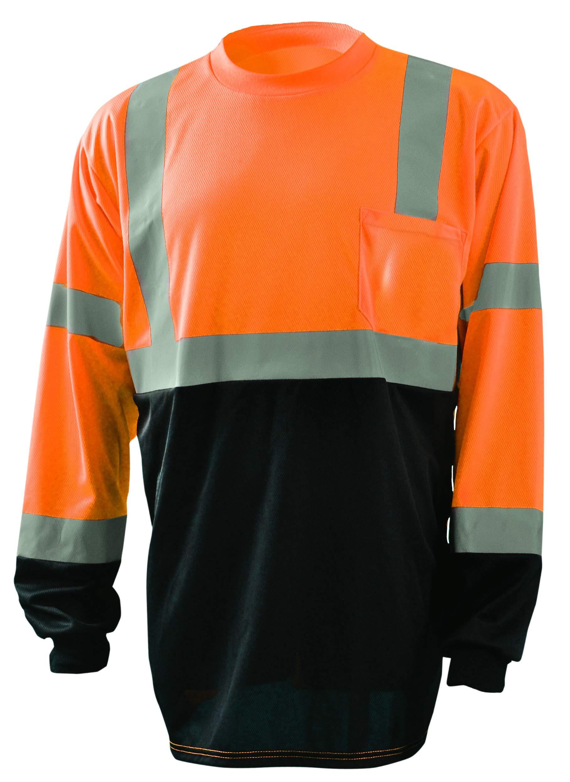 OccuNomix LUX-LSETPBK-OXL Classic Standard Long Sleeve Wicking Birdseye Black Bottom T-Shirt, Class 3, 100% ANSI Wicking Polyester Birdseye, X-Large, Orange (High Visibility)