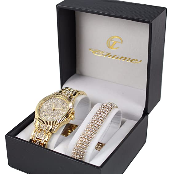 Pack Reloj mujer color oro reloj brillantes + pulsera dorado Collection Dolce Vita: Amazon.es: Relojes