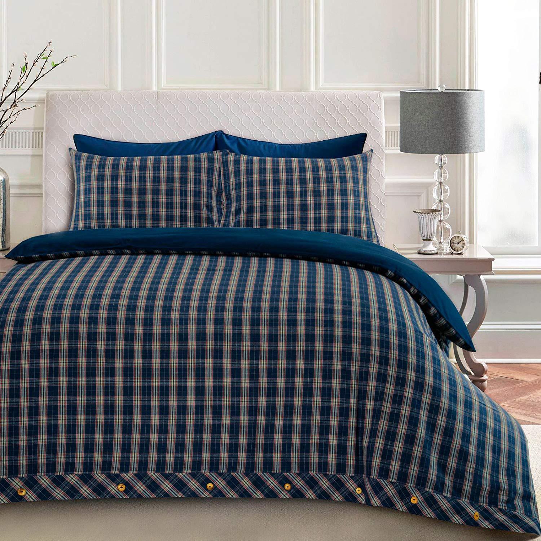 Super King Nimsay Home Flannel Drap-housse Flanelle Thermique 180gsm Coton Teint 100/% Coton Bross/é Bleu