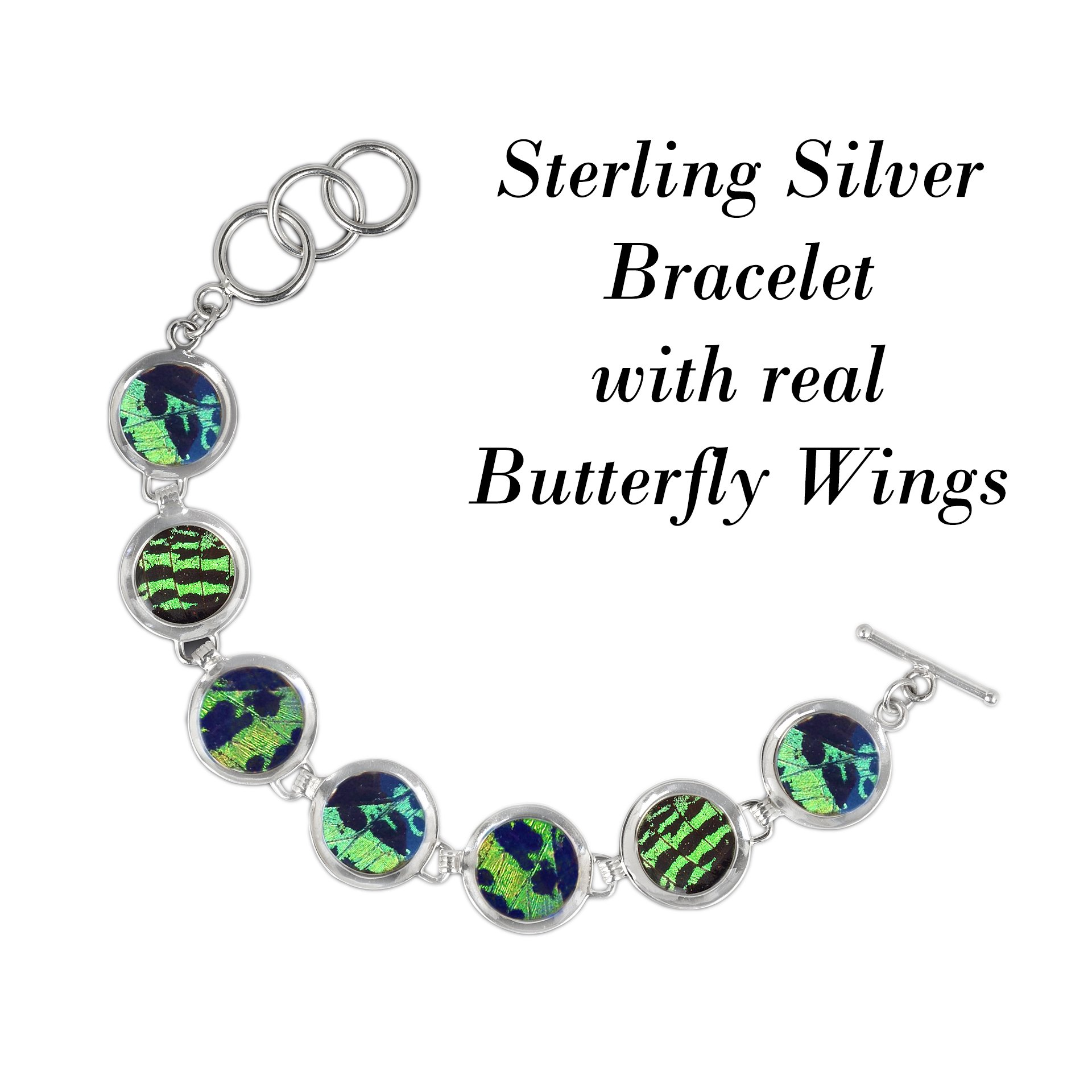 Real Butterfly Sterling Silver Bracelet - Natural, Colorful, Recycled, Sustainable, Green