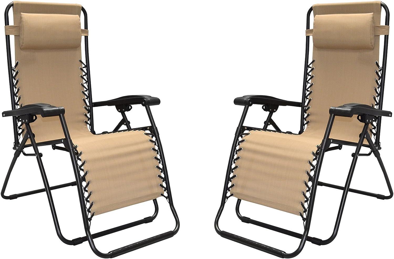 Caravan Canopy Infinity Zero Gravity Steel Frame Patio Deck Chair, Beige (Pair)