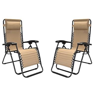 Caravan Sports Infinity Zero Gravity Reclining Chair 2PK Beige