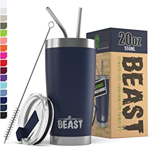 Beast 20 oz Navy Blue Tumbler - Stainless Steel Vacuum Insulated Coffee Ice Cup Double Wall Travel Flask