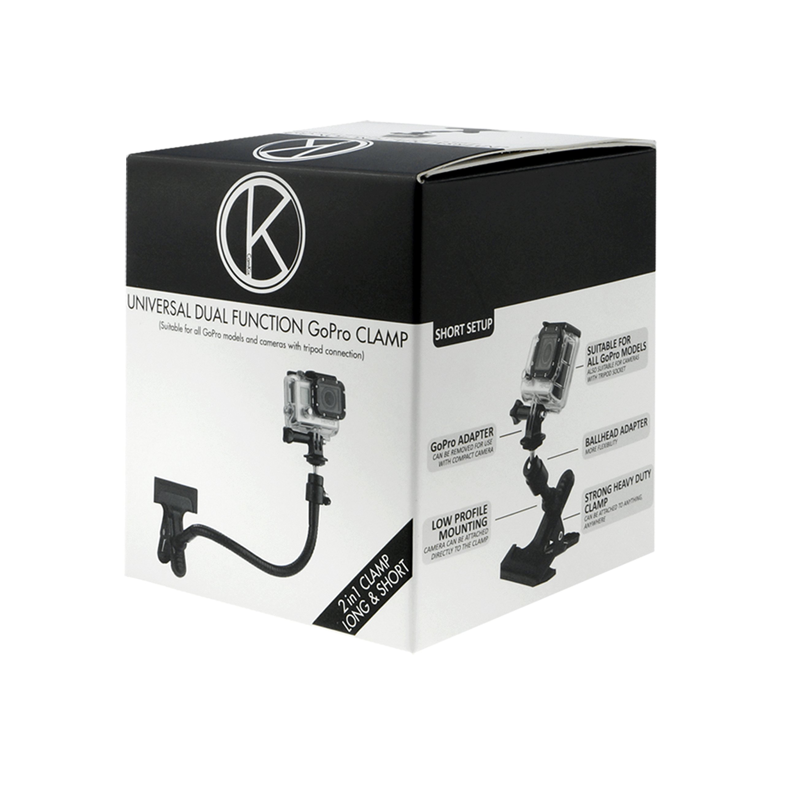CamKix replacement Clamp Mount compatible with Gopro Hero 6, 5 Black, Session, Hero 4, Session, Black, Silver, Hero+ LCD, 3+, 3, 2, 1 and Compact Cameras (Clamp Mount for Gopro Hero)