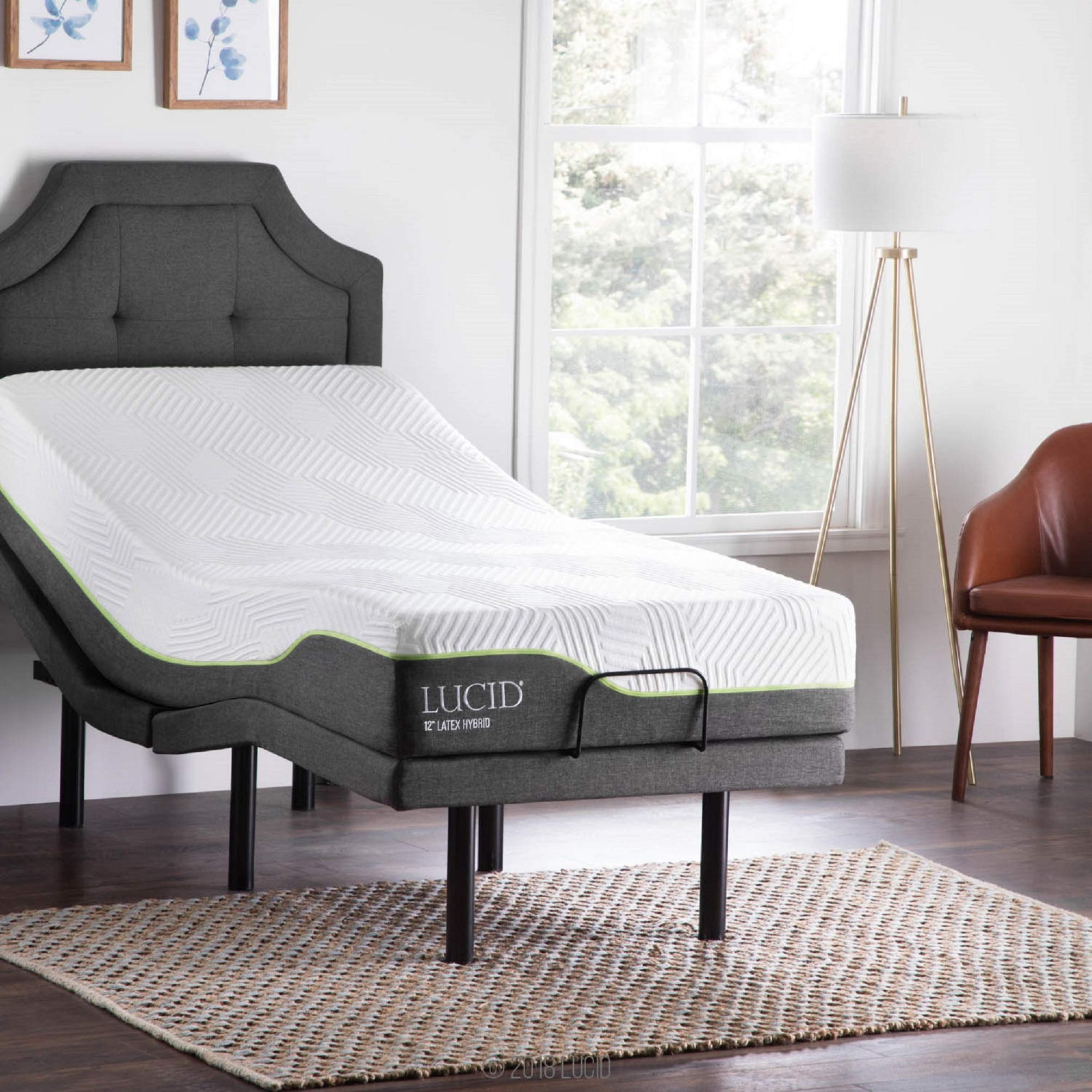 LUCID L300 Adjustable Bed Base with 12 Inch Latex Hybrid Mattress - Twin XL by LUCID
