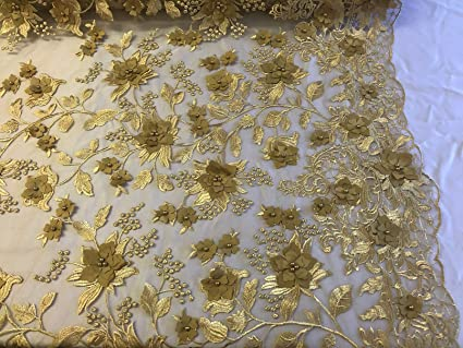 639b3258f9 Amazon.com: 3D Flower Fabric - Embroidered Lace Mesh with Flowers ...