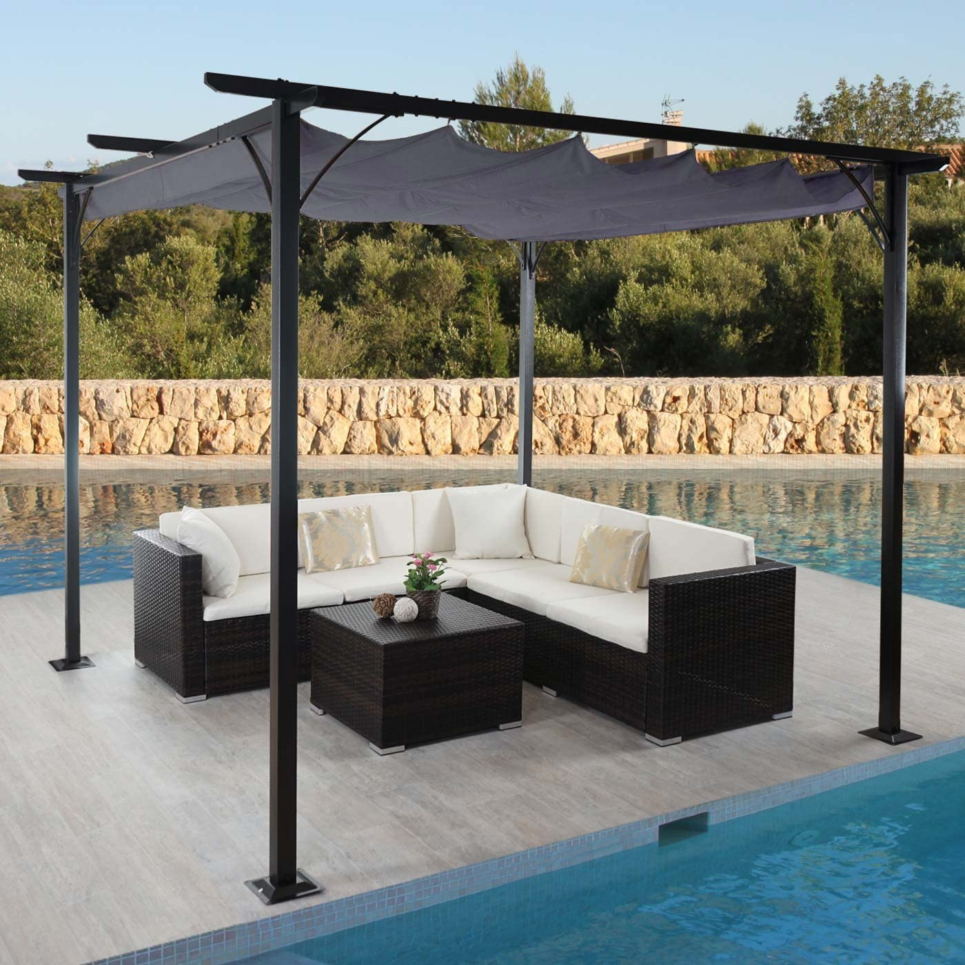 Mendler Pergola Avila, pabellón de jardín, Marco Estable con 6 cm + Techo Solar ~ 3 x 3 m Gris: Amazon.es: Hogar