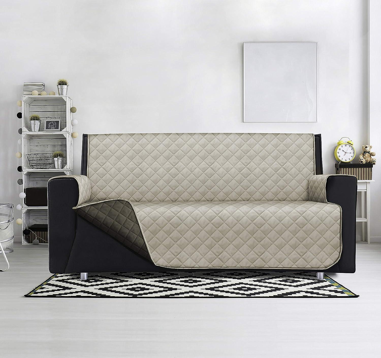 SOPHIE - Funda acolchada para sofá de 3 plazas, impermeable, reversible, modelo Lello (Silver/Carbono, 279 x 180 cm)