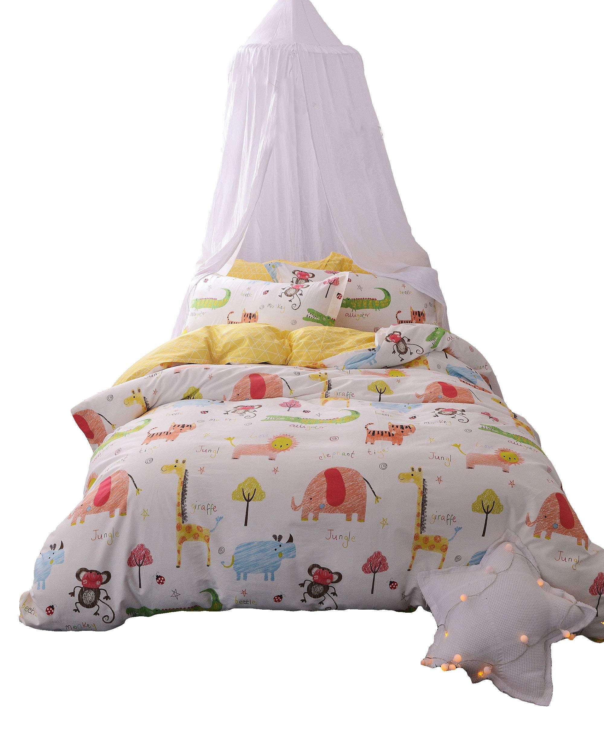 Papa&Mima Animals Zoo Cute Brief Cartoon Style Duvet Cover Set Flat Sheet Pillow Cases 500TC Soft Cotton Fabric 3Pcs Twin Size Bedding Sets