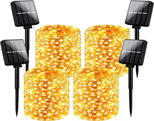 Outdoor Solar String Lights Waterproof 288Ft, 4-Pack Each 72FT 200 LED Solar Powered Fairy Lights with 8 Lighting Modes, Cooper Wire Lights for Patio, Garden, Party, Wedding (Warm White)