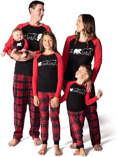 JumpOff Jo - Juego de Pijama a Juego para Familia, Hombres, Mujeres, niños, niños - Tamaños: Infantil - Adulto 2XL - Oso Necesidades