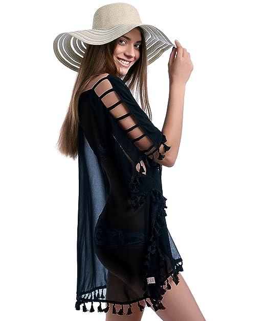 45f238dd83 Elegant Beachwear Swimsuit Cover Up - Bikini Swimwear Cover up for Women - Chiffon  Tassel Cover