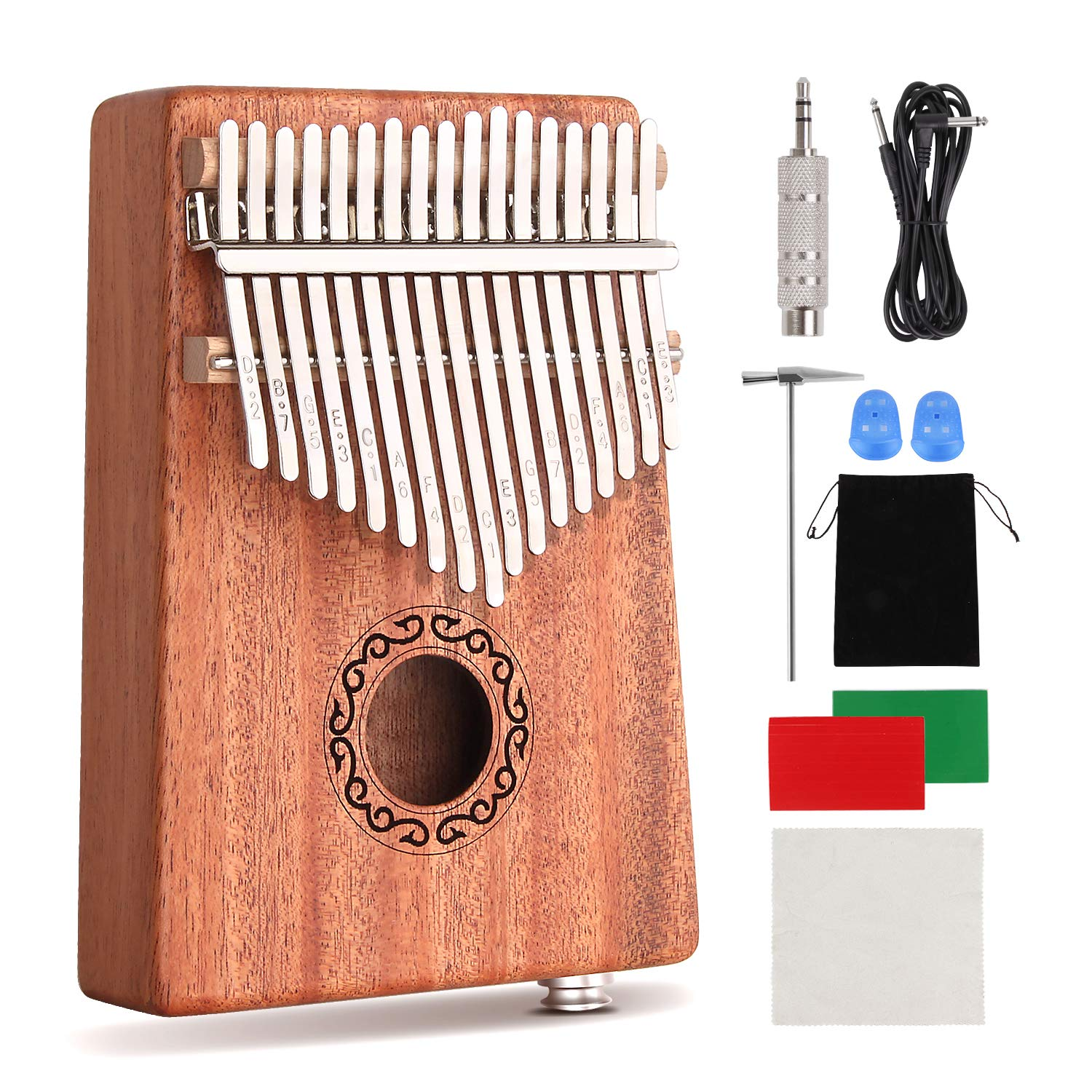 CXhome Electric Kalimba 17 Key Thumb Piano,Mbira African Mahogany Finger Piano Pickup with 6.35mm Audio Interface Sanza Hand Kit, Likembe Musical Instruments for beginners or professioners by CXhome