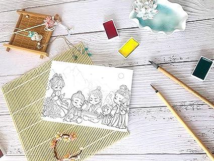Bonito juego de pintura de estilo antiguo de espiga estética pintada con líneas de colores para dibujar y colorear libros para adultos: Amazon.es: Oficina y papelería