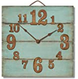 """Highland Graphics 12"""" Rustic Turquoise Blue Wall Clock Made in USA from Reclaimed Wood Slats"""