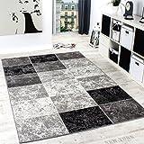 Tapis De Créateur Contemporain à Carreaux En Gris Noir Blanc, Dimension:200x290 cm