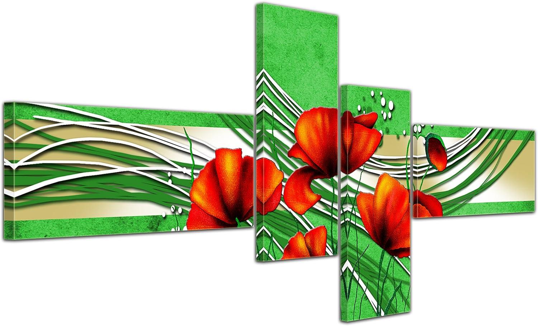 Cuadros en Lienzo - Arte abstracto amapola verde - 200x90cm 4 partes - Listo tensa. Made in Germany!!!: Amazon.es: Hogar