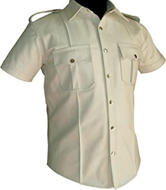 Mens/All White Cow Leather Shirt Police and Pilot Uniform Style Genuine Leather Shirt BLUF