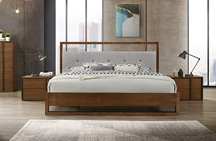 Limari Home Gaspare Collection Modern Bedroom Fabric Upholstered Walnut Veneer Finished Bed, Queen, Brown, Gray