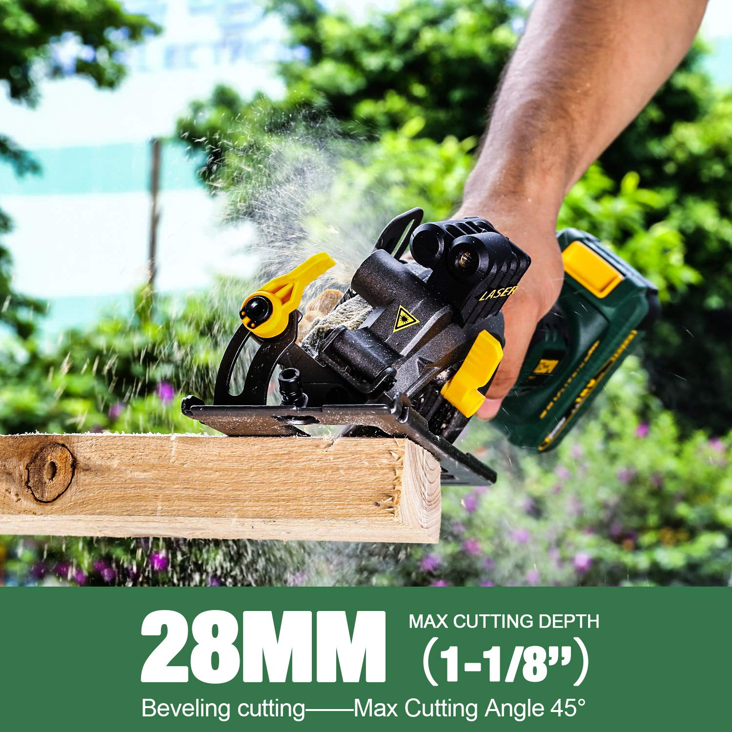 Cordless Circular Saw 1 Hour Fast Charger Bevels up to 45/° TDMS22P 24T 115mm Blade 4.0Ah Battery TECCPO 18V 4500RPM Laser Mini Circular Saw