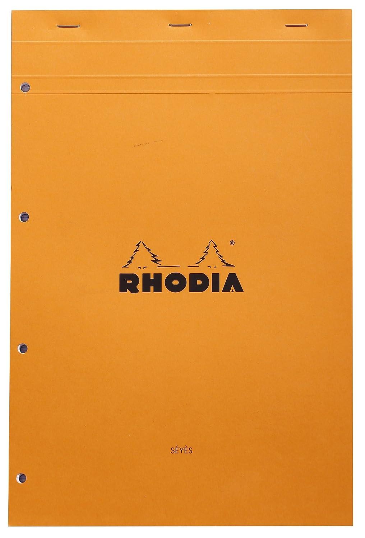 80 Feuilles Grands Carreaux S/éy/ès N/°20 Orange Bloc Agrafes Perfor/é Format A4+ Rhodia 21 x 31,8 cm